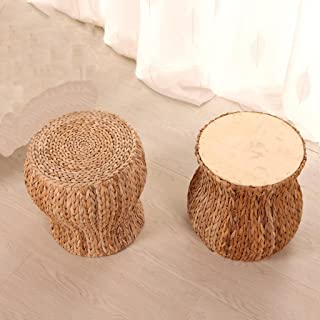 HETAO Fashion Creative Round Stool Wood Straw Rattan...