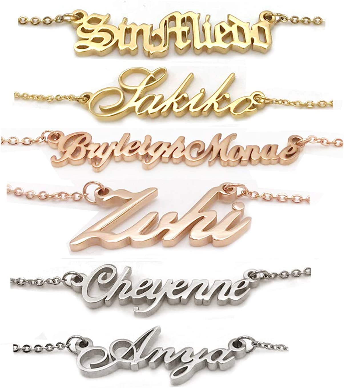 AOLO Personalized Custom Name Script Beauty products Max 61% OFF Necklace Nameplate Initial