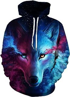 Imbry Unisex 3D Wolf Printed Pullover Hoodies Sweatshirts Sweaters
