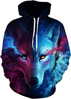 Imbry Unisex 3D Wolf Printed Pullover Hoodies Sweatshirts Sweaters