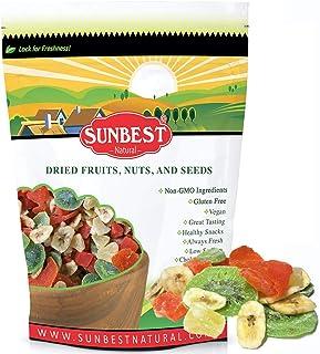 SUNBEST NATURAL Tropical Dried Fruit Mix, Fruit Medley (Mango, Papaya, Pineapple, Banana Chips, Kiwi) in Resealable Bag, V...
