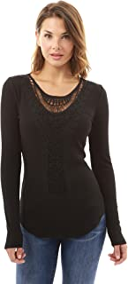 Women Crochet Lace Inset Curved Hem Blouse
