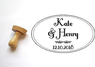 Timbro matrimonio personalizzabile forma ovale, personalizzato con nomi e data, stile art deco