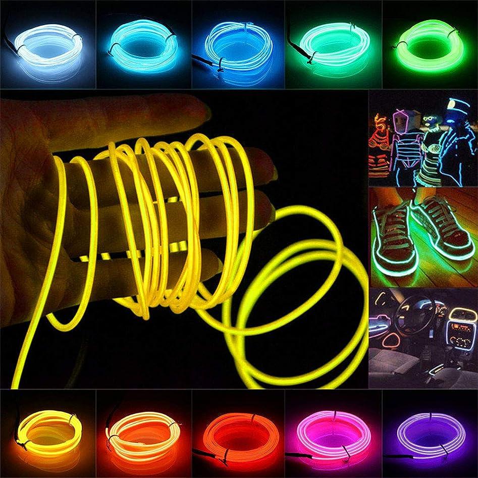 ダブル成熟合わせてELワイヤー Jiguoor ▲5M 有機EL ネオンワイヤー イルミネーション 車内 ネオンライト 自転車 3パタン ロープライト パーティー 衣装 LEDライト 長さ5m 直径2.3mm 全10色(黄 イエロー)