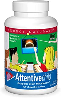 Sponsored Ad - Source Naturals Attentive Child Chewable Wafers for Brain Metabolism Support - 120 Fruit Wafers