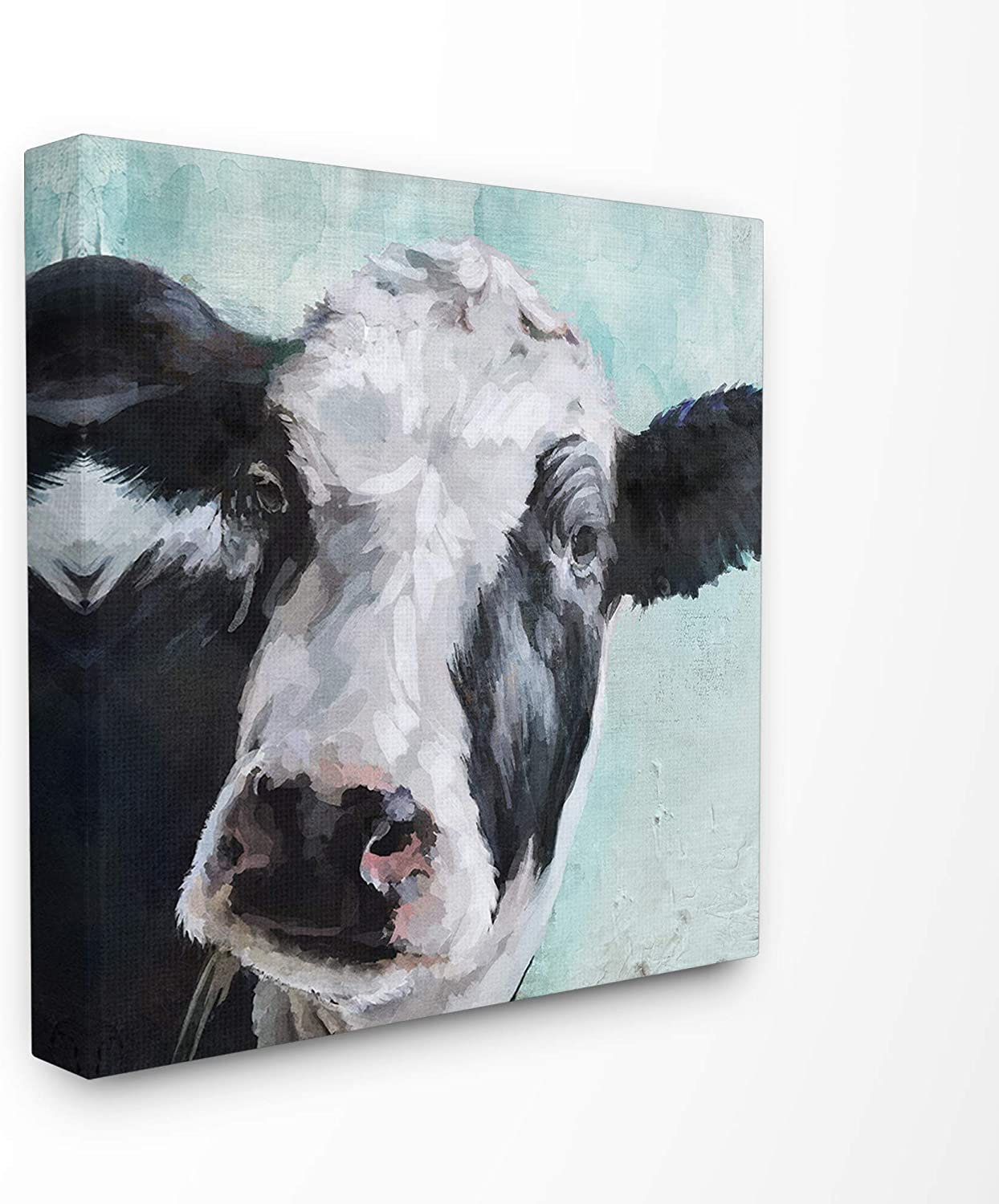 The Stupell Home Décor Collection Gentle Farm Cow Painting on bluee Stretched Canvas Wall Art, 24 x 24, Multi-color