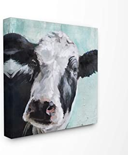 The Stupell Home Décor Collection Gentle Farm Cow Painting on Blue Stretched Canvas Wall..