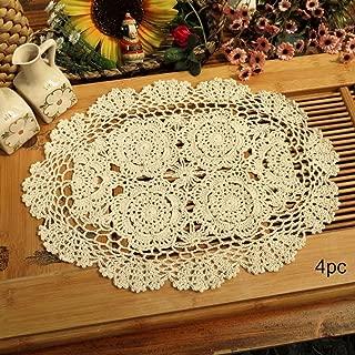 Phantomon Crochet Cotton Lace Placemats Doilies Crochet Doilies, Pack Of 4, Oval Shape, Beige, 12 x 17 inch, Sofa Cover Coasters, Cotton Placemats (Beige)