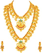 Apara Laxmi Pendant Temple Jewellery Gold Plated Pearl Combo Necklace Set for Women