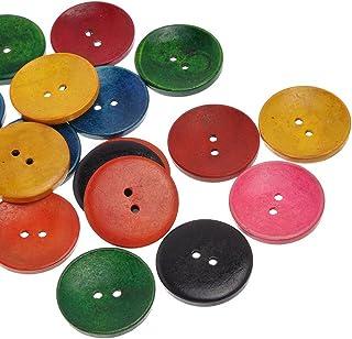 Pacote com 20 botões de madeira de 2 furos em formato redondo misturado Souarts