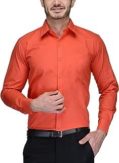 BEING FAB Men's Cotton Casual Shirt Orange