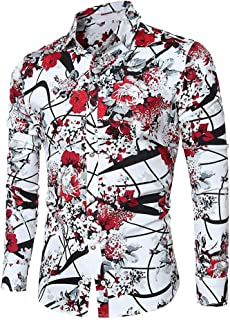 Men's Shirt Stylish Slim Fit Button Down Long Sleeve Floral Shirt