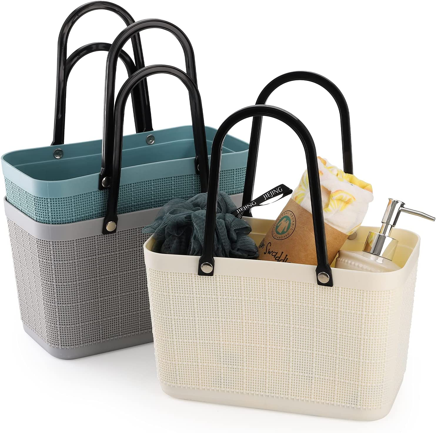 Cedilis 3 Pack Plastic Ranking TOP1 Storage Handle Show Omaha Mall Basket Portable with