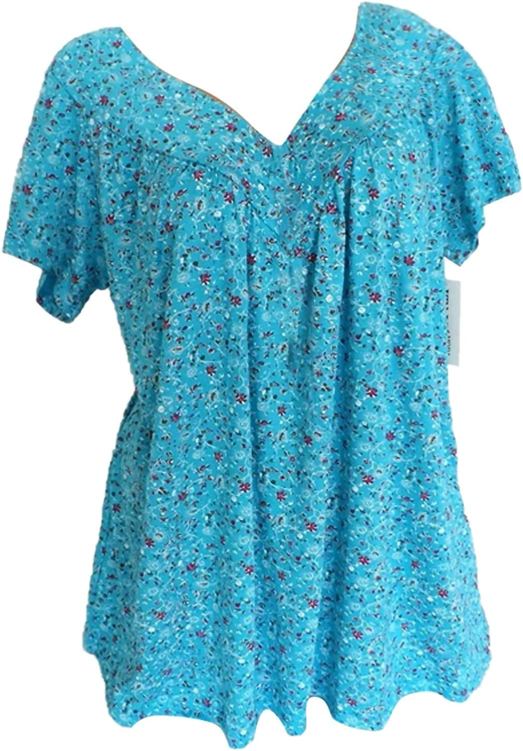 Jaqqra Summer Tops for Women, Womens V Neck Floral Print T-Shirts Short Sleeve Casual Loose Blouse Tunic Tee Top