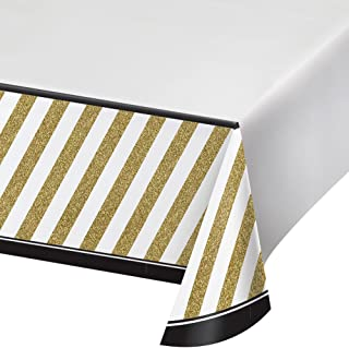 """Creative Converting 318098 Party Border Print Plastic Tablecover 54"""" x 102"""" Black & Gold"""