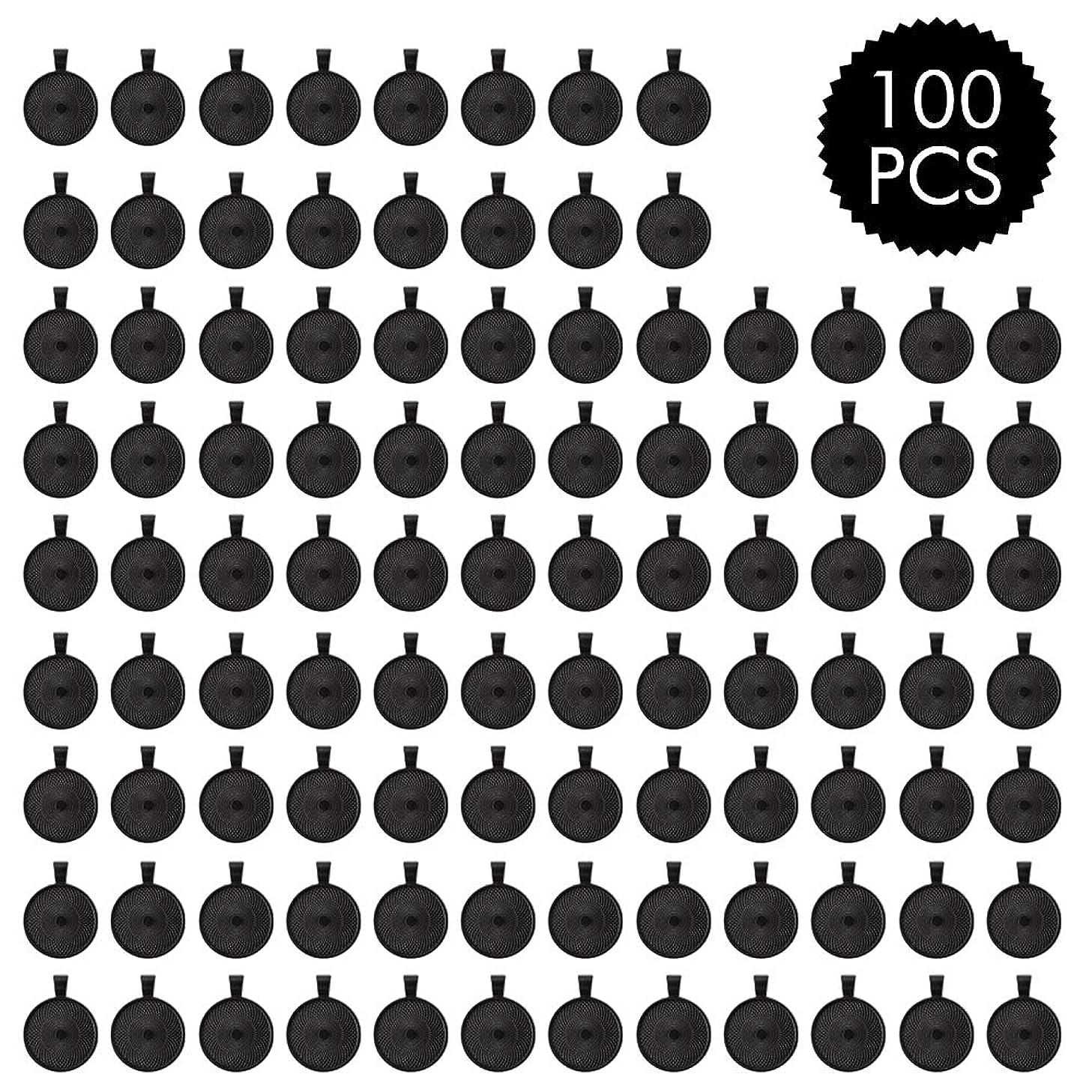ASIBT 100 PCS Bezel Pendant Trays Round Cabochon Settings Trays Pendant Blanks, 25mm Diameter (Black)