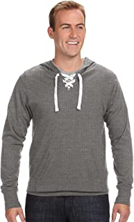 J8231 J.America Adult Sport Lace Jersey Hooded Tee (Charcoal (60/40)) (M)