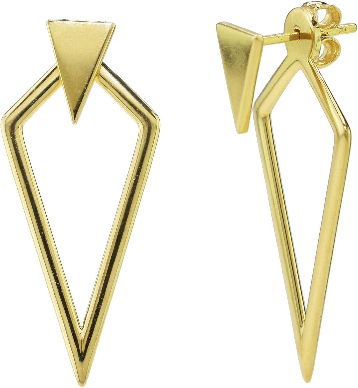 14K Gold Hollow Kite & Triangle Ear Jacket Earrings