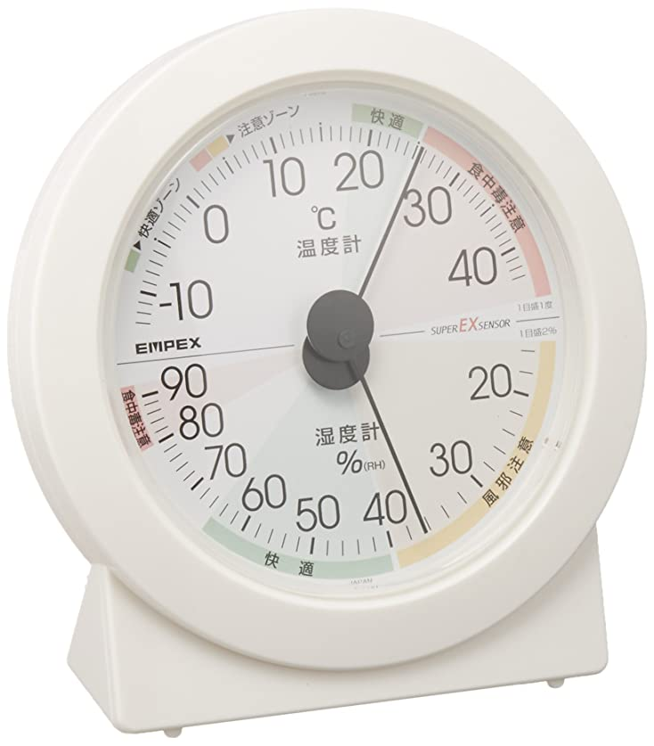 太鼓腹締める協定エンペックス気象計 温度湿度計 高精度ユニバーサルデザイン 置き用 日本製 ホワイト EX-2831