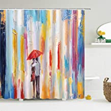 JMHX Bathroom Shower Curtain Woman Street View Print Polyester Bathtub Curtains Waterproof Bath Screen