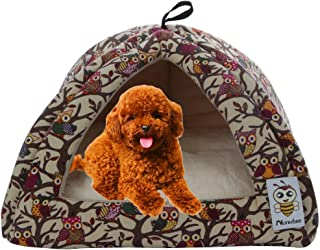 Nunubee Owl Canvas Triangle Dog Kennel Pet Nest Cat Pad Bed Yellow Small-14.2x14
