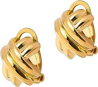 Orecchino Donna A Clip In Argento 925 Placcato Oro, Lucido. Nickelfree, Anallergico. Prodotto Artigianale Made In Italy