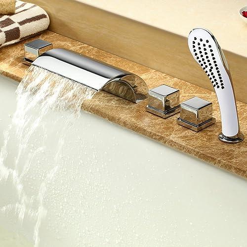 Lot de 5accessoires pour baignoire - Mitigeur cascade - Robinets - Douchette - Chromés