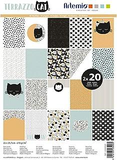 Artemio Bloc de 40 Feuilles de Papier Scrapbooking A4 Terrazzo Cat