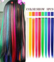 Girls Fashion Rainbow Hiar Extensions Hair Accessories Colored Hair Extensions Clip in/on America Girls&Dolls Wig Pieces Kids