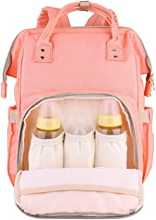 House of Quirk Diaper Backpack for Mommy Waterproof Nappy Bag Rucksack Pink