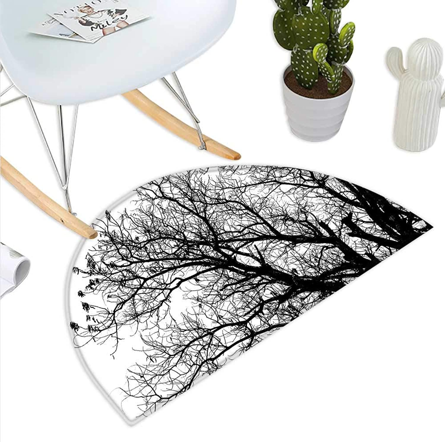 Nature Semicircle Doormat Leafless Autumn Fall Tree Branches Tops Oak Forest Woodland Season Eco Theme Halfmoon doormats H 43.3  xD 64.9  Black and White