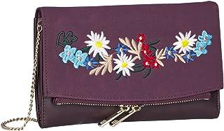 SIX Oktoberfest Handtasche, weinrote Umhängetasche/Clutch mit Blumen Stickereien, Dirndl Tasche/Trachtentasche, Karneval, ...