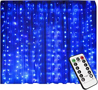 LIGHTESS 300 LED Christmas String Fairy Outdoor or Indoor Curtain Lights with Remote Control (Blue)