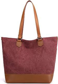 JANSBEN Canvas Schultertasche Damen Groß Handtasche Shopper Tasche Frau Henkeltaschen PU Leder Unterseite mit Reißverschluss für Arbeit Schule Alltag Büro