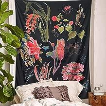 PYHQ Flowers Black Tapestry Wall Hanging Urban Hippie Bohemia Boho Art Polyester Fabric