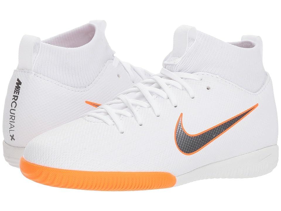 Nike Kids SuperflyX 6 Academy IC Soccer (Little Kid/Big Kid) (White/Metallic Cool Grey/Total Orange) Kids Shoes