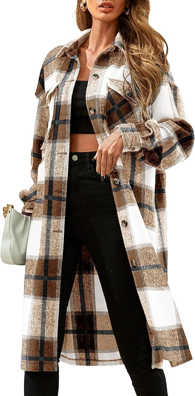 Womens Plaid Button Down Wool Blend Coat Casual Shirt Jacket Lapel Long Peacoat Oversized Shacket Jackets Outwear