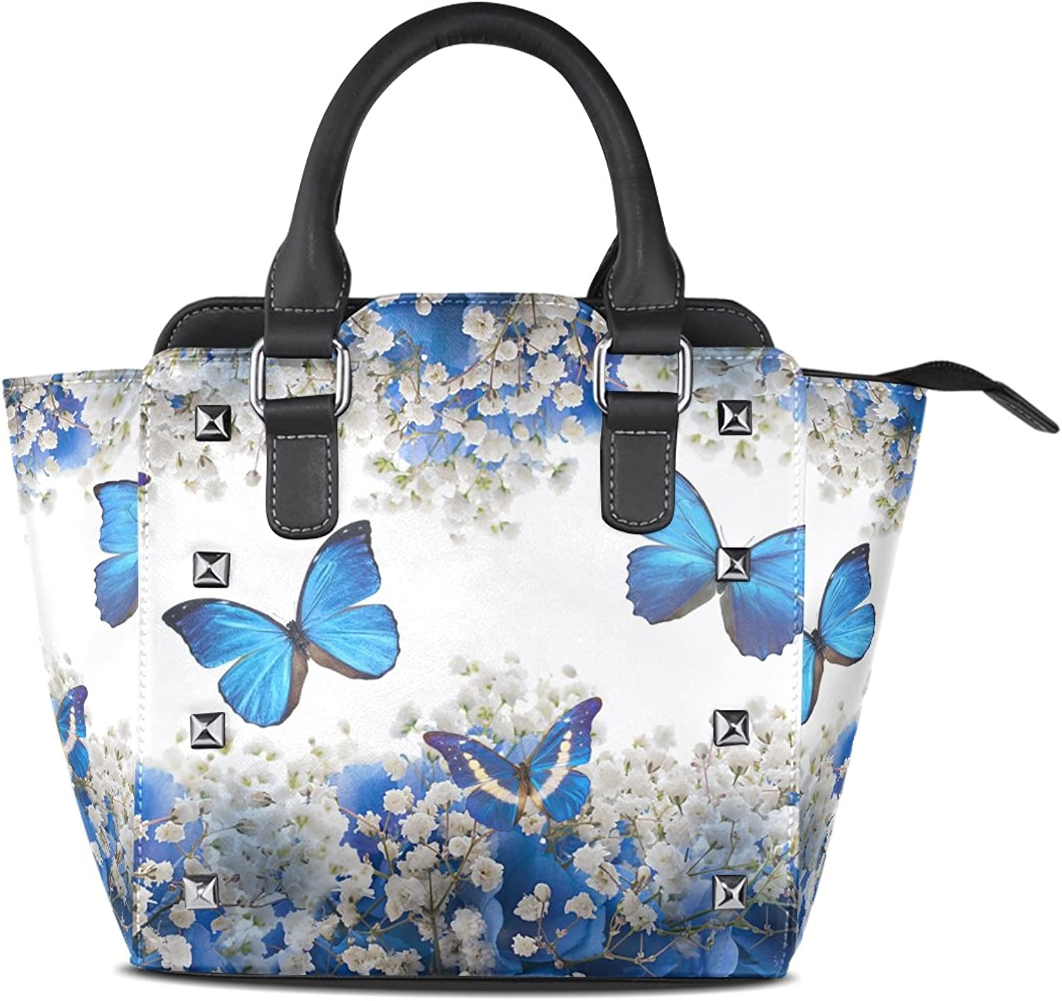 Sunlome Retro Butterfly Floral Print Women's Leather Tote Shoulder Bags Handbags