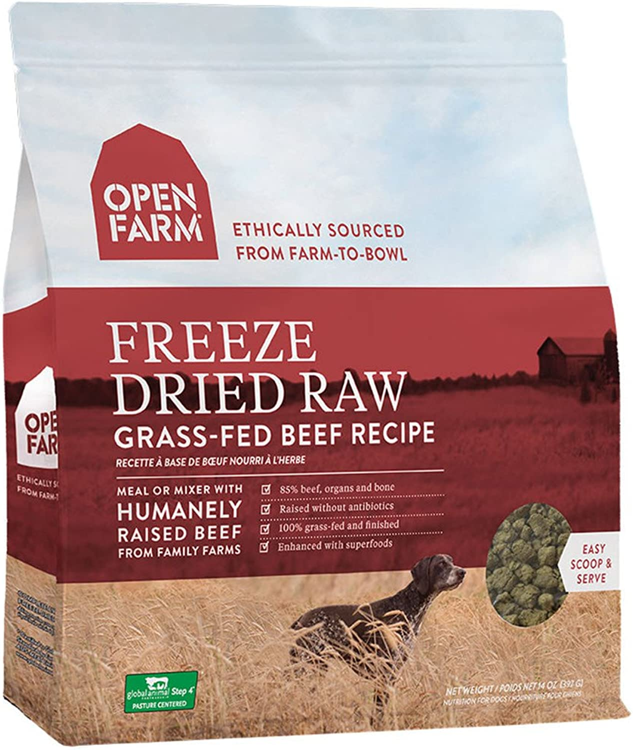Open Farm Freeze Dried Raw Grain Free Dog Food 13.5 oz (Beef)