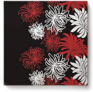 Square Canvas Wall Art Oil Painting for Bedroom Living Room Home Decor,Chrysanthemum Flower Painting Black White Red Office Artworks,Stretched by Wooden Frame,Ready to Hang,16 x 16 Inch