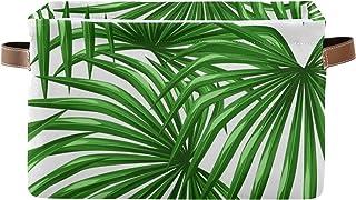 PUXUQU Panier de rangement pliable en feuilles de palmier vert tropical avec poignées pour placard, étagères, jouets, bure...