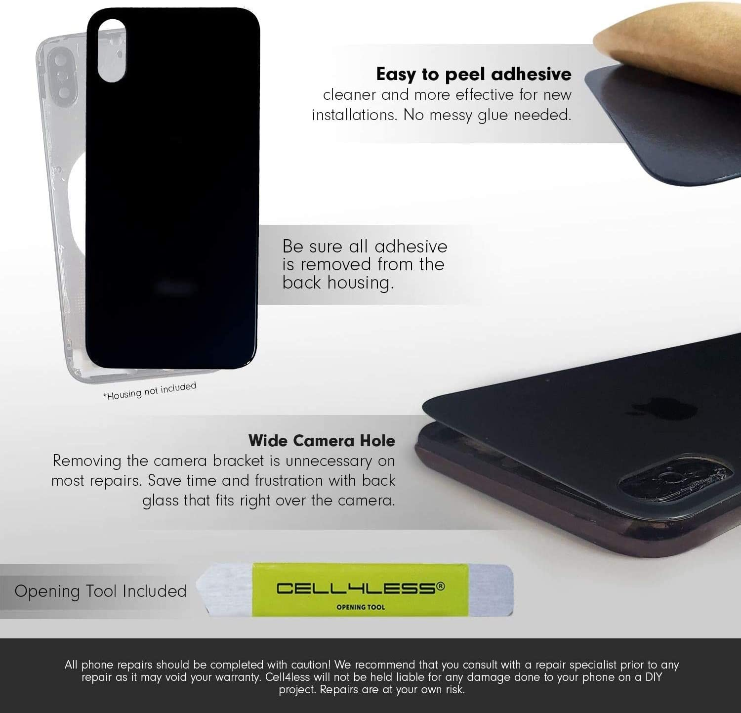 Cell4less Back Glass Compatible with The iPhone Xs Max W/Full Body Adhesive, Removal Tool, and Wide Camera Hole for Quicker Installation (Black)