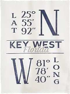 Lantern Press Key West, Florida - Latitude and Longitude (Blue) 68297 (60x80 Poly Fleece Thick Plush Blanket)