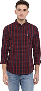 Red Tape Men's Checkered Regular Fit Casual Shirt (RSF8508A_Red_L)