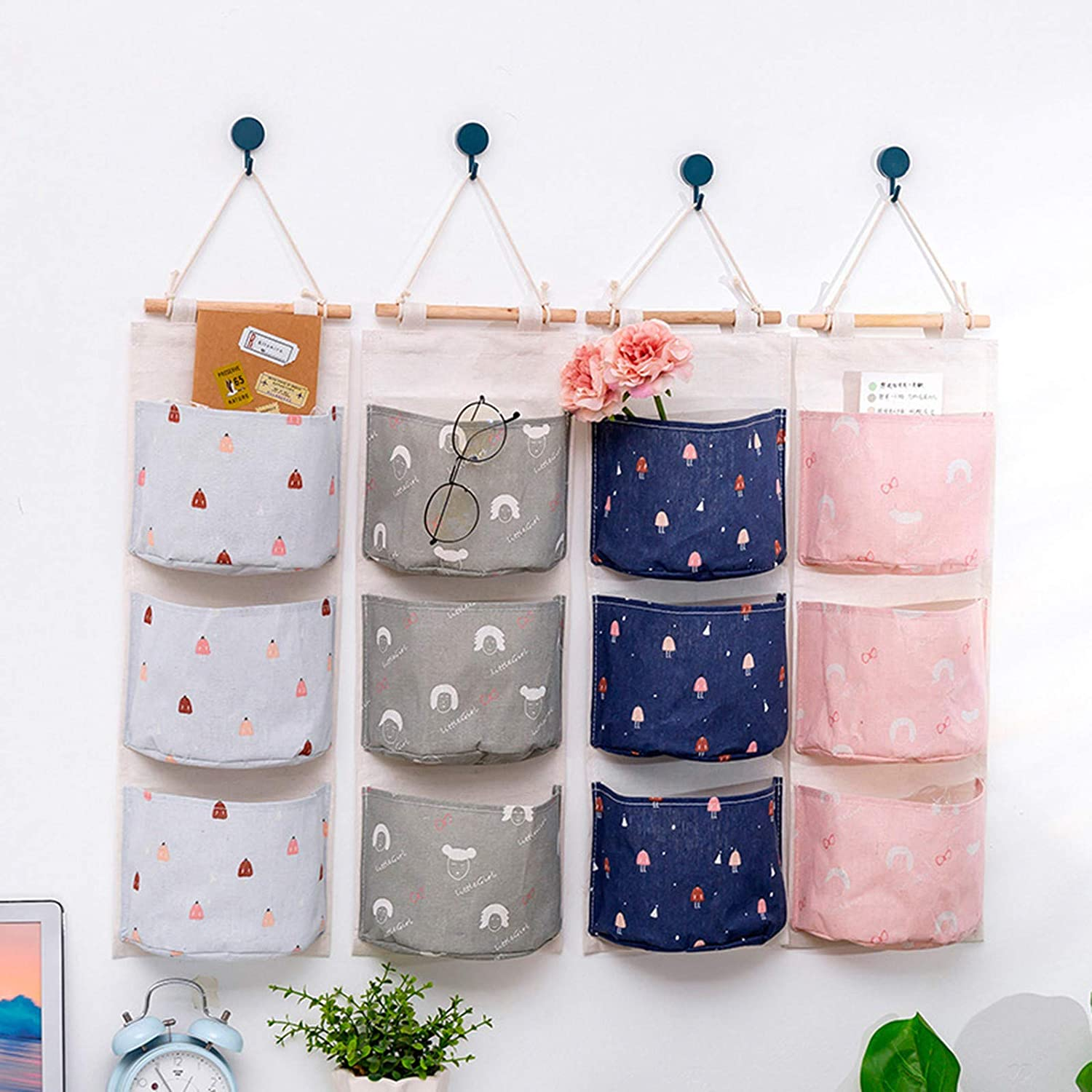 Linen Farbric Hanging Pocket Organizer with 3 Remote-Sized Width Pockets for Bedroom Bathroom VESNIBA Wall Hanging Storage Bag Waterproof Over The Door Closet Organizer