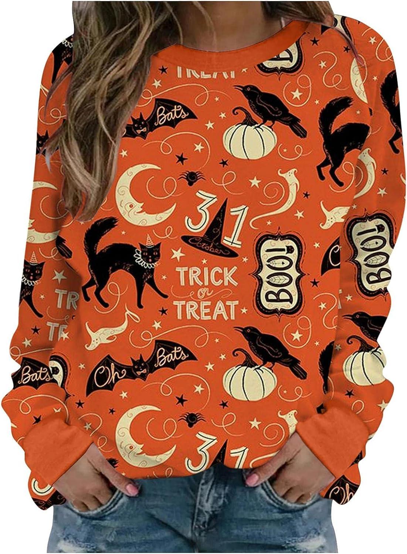 AIHOU Halloween Shirts for Women Long Sleeve Graphic Sweatshirts Pumpkin Face Print Crewneck Sweatshirts Casual Pullover Tops