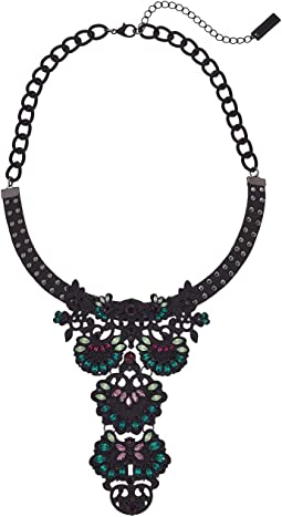 Steve Madden - Casted Curb Leather Bib Statement Choker Necklace