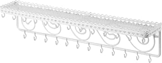 Wall Mounted Metal Jewelry & Cosmetics Display Shelf with 25 Necklace Hooks and Scrollwork Design