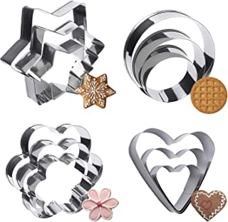 Metal Cookie Cutters Set - 12Pcs Heart, Star, Round, Flower Shapes Cookie Biscuit Cutter Stainless Steel Cutter for Kitche...