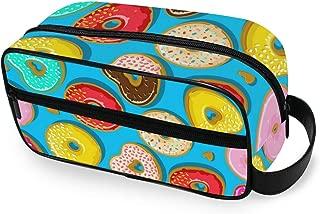 Donuts Colorful Babyblue Portable Toiletry Bag Travel Wash Bag Daily Handbag Cosmetic Bag Luggage Pouch